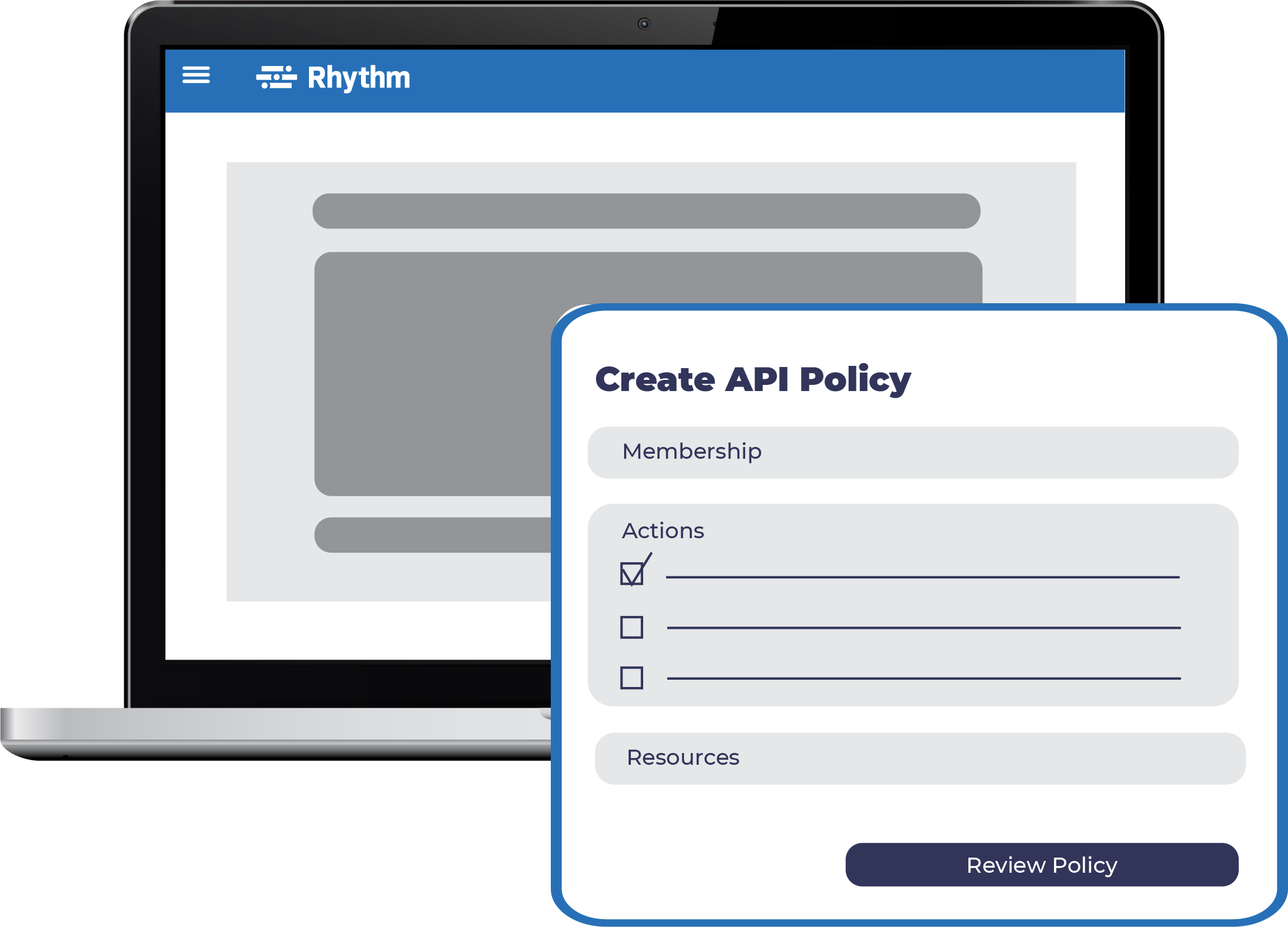 API Policy screen on laptop