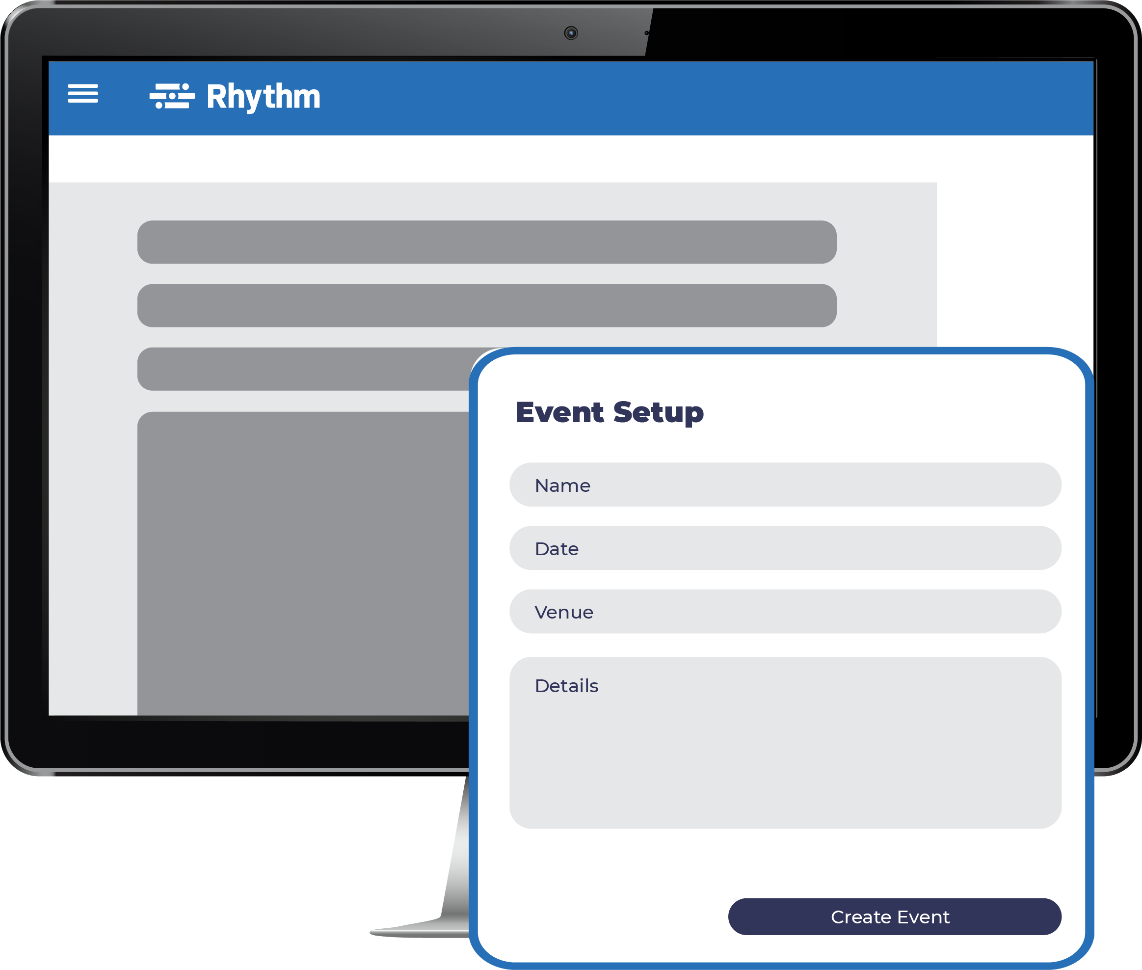 Event setup page on Rhythm software platform