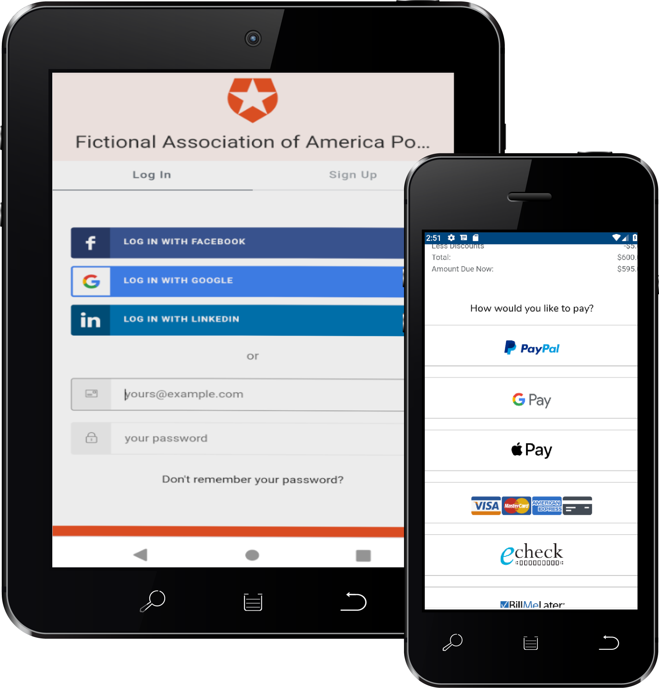 Member portal on tablet and cell phone