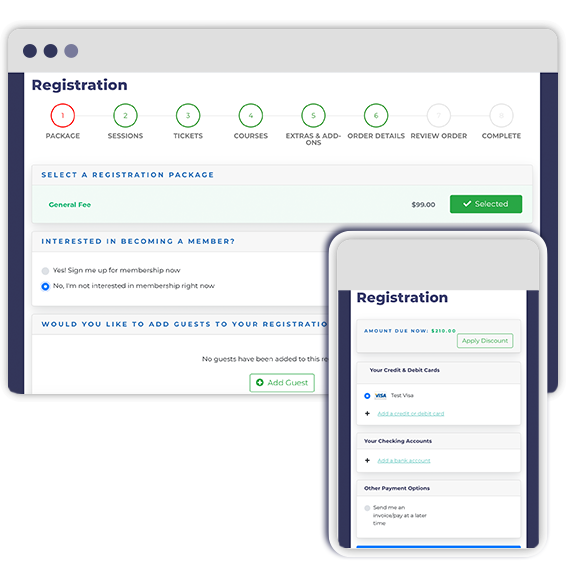 Rhythm event registration on desktop and mobile